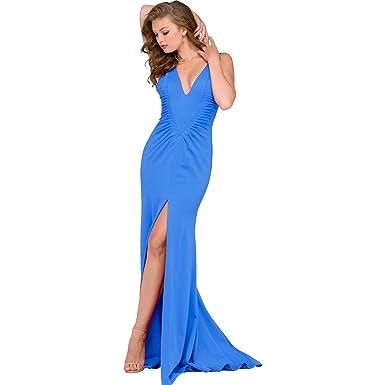 Jovani Ponte Slit Formal Dress - Blue - 6