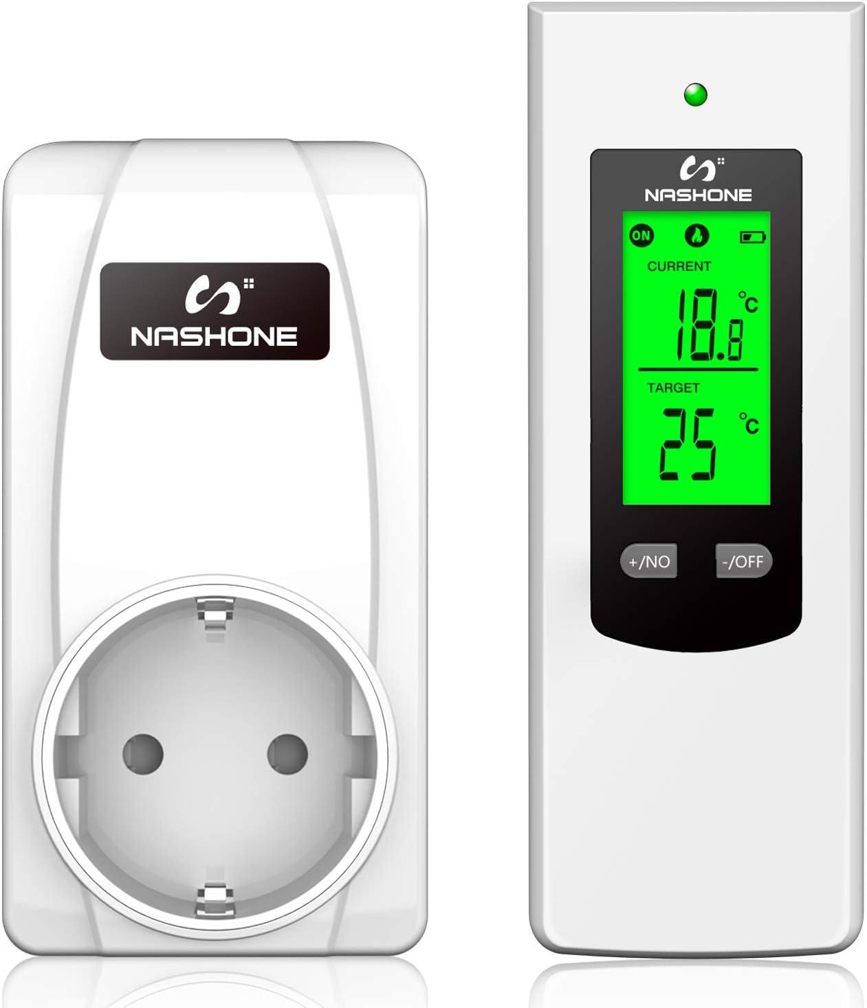 NASHONE Termostato Inalámbrico Digital Enchufe Control de Temperatura, Control Remoto con Sensor de Temperatura Integrado, Termostato Perfecto para Aplicaciones de Calefacción y Refrigeración. 3680W