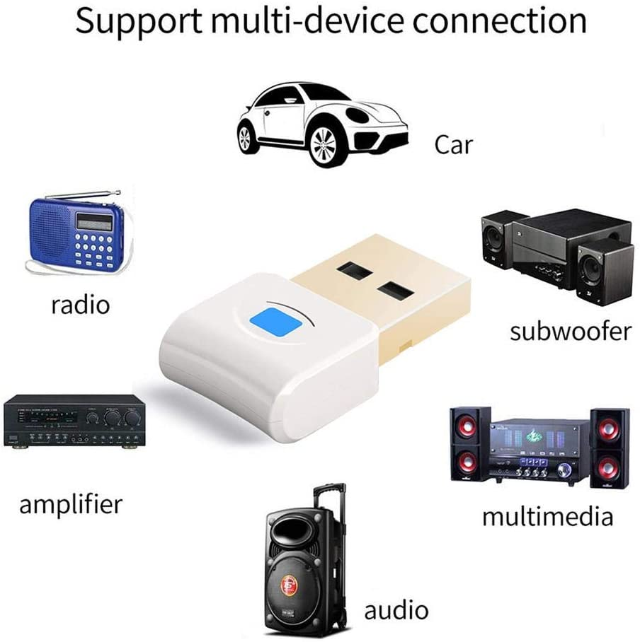 Elementral Mini USB Bluetooth Adapter 5.0 High Speed Stabilit Car Stereo Subwoofer Multimedia Amplifier Audio Adapter Bluetooth Receiver