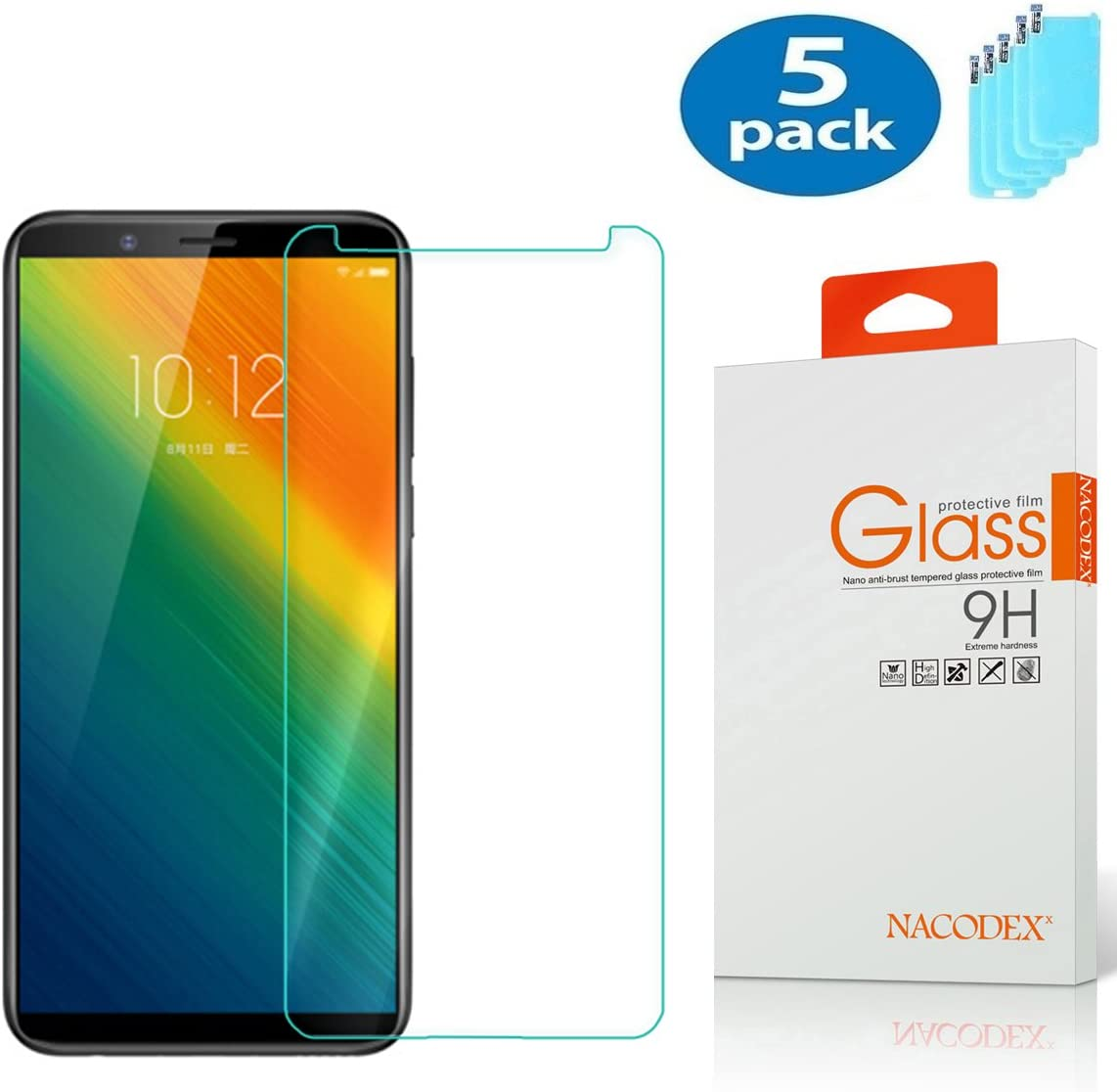 [5 Pack] Lenovo K5 Note Screen Protector,NACODEX Tempered Glass Screen Protector for Lenovo K5 Note (2018) Ultra Clear Scratch Resistant Glass Protector
