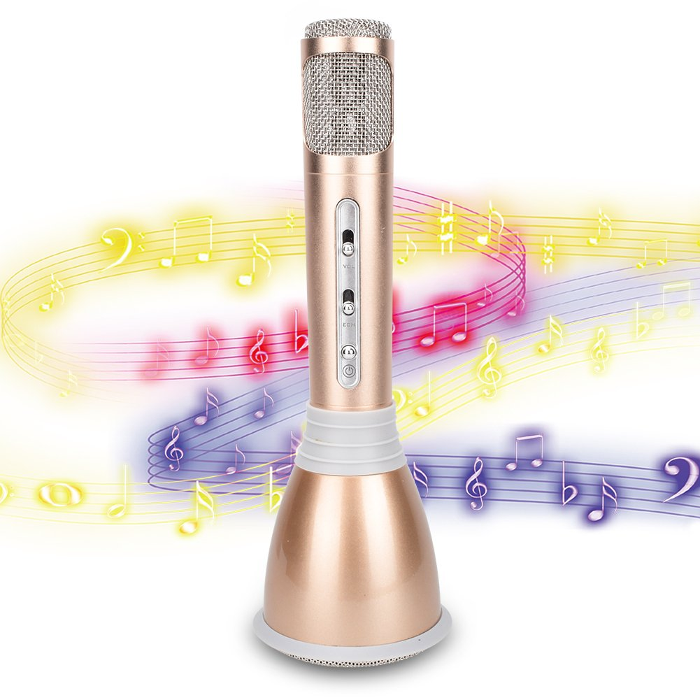 Wireless Kids Portable Karaoke Microphones with Bluetooth Speaker for Music Playing and Singing Machine System for iPhone/Android Smartphone/Tablet