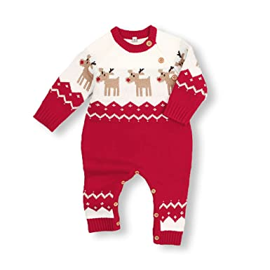 mimixiong baby christmas sweater toddler reindeer outfit red clothes 6 12monthsred