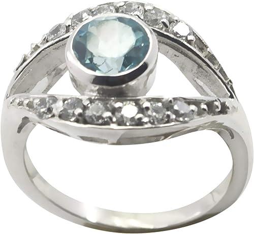 Designer 925 Sterling Silver Splendid Natural Blue Ring Chalcedony Blue Gemstone Silver Ring