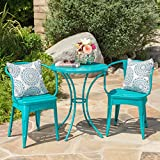 Collins Outdoor 3 Piece Matte Green Iron Bistro Set (Matte Teal)