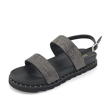 HAIZHEN Frauenschuhe Weibliche Sommer Doppelte Untere Art und Weise Dick flach mit Sequins Sandalen Schwarzes