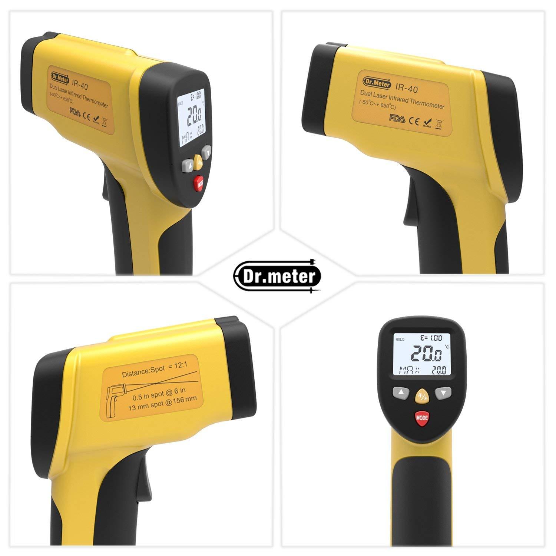 -50 /°C ~ 650 /°C // -58 /° F ~ 1202 /° F Thermom/ètre infrarouge laser IR-40 double laser sans contact num/érique infrarouge avec thermom/ètre /à temp/érature de gel