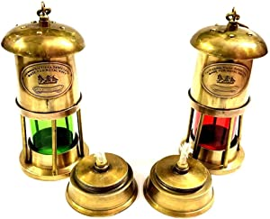 Vimal Nautical Antique Set of 2 Nautical Antique Brown Brass Red/Green Minor Oil Lamp Ship Boat Lantern 6