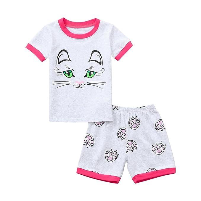 789dcc96a2f Baby Toddler Girls Summer Shorts Set Kids Cute Cartoon Print Tops T-Shirt  and Shorts