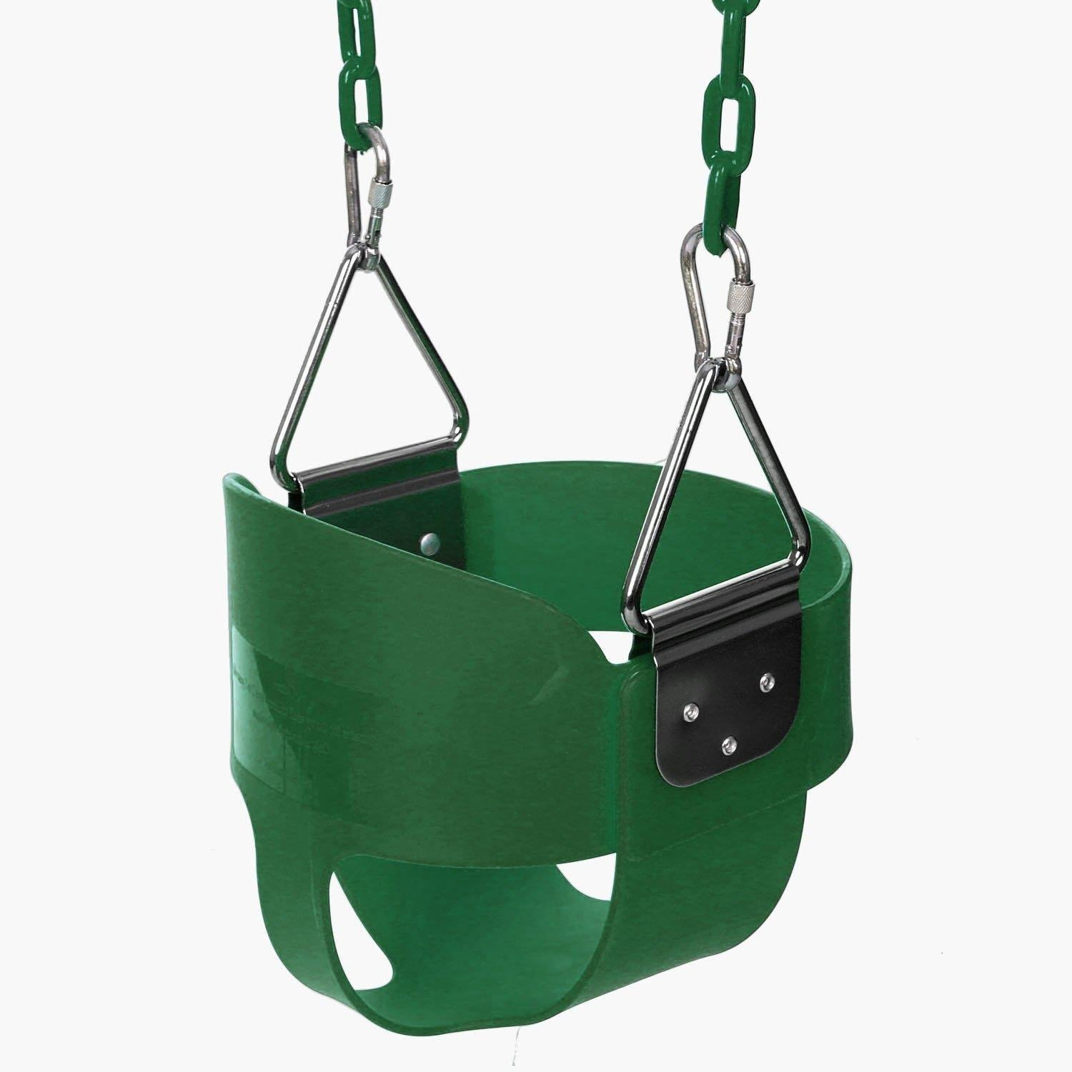 Bucket Swing Seat Outdoor Kids Child High Back Full with Coated Chain Home Garden(US Stock) (Green)