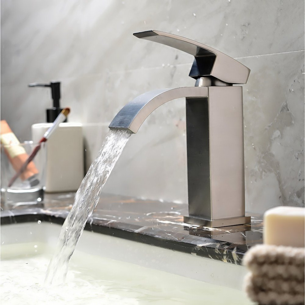 Hotis Commercial Two Handle Stainless Steel Brushed Nickel Bathroom Faucet, Lavatory Bathroom Faucets Without Pop-Up Drain by HOTIS HOME