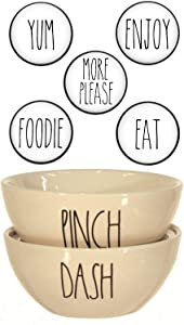 Rae Dunn PINCH & DASH Mini Seasoning Bowls Large Letter LL and Coordinating 5 Fridge Magnets Gift Set (Pinch/Dash)