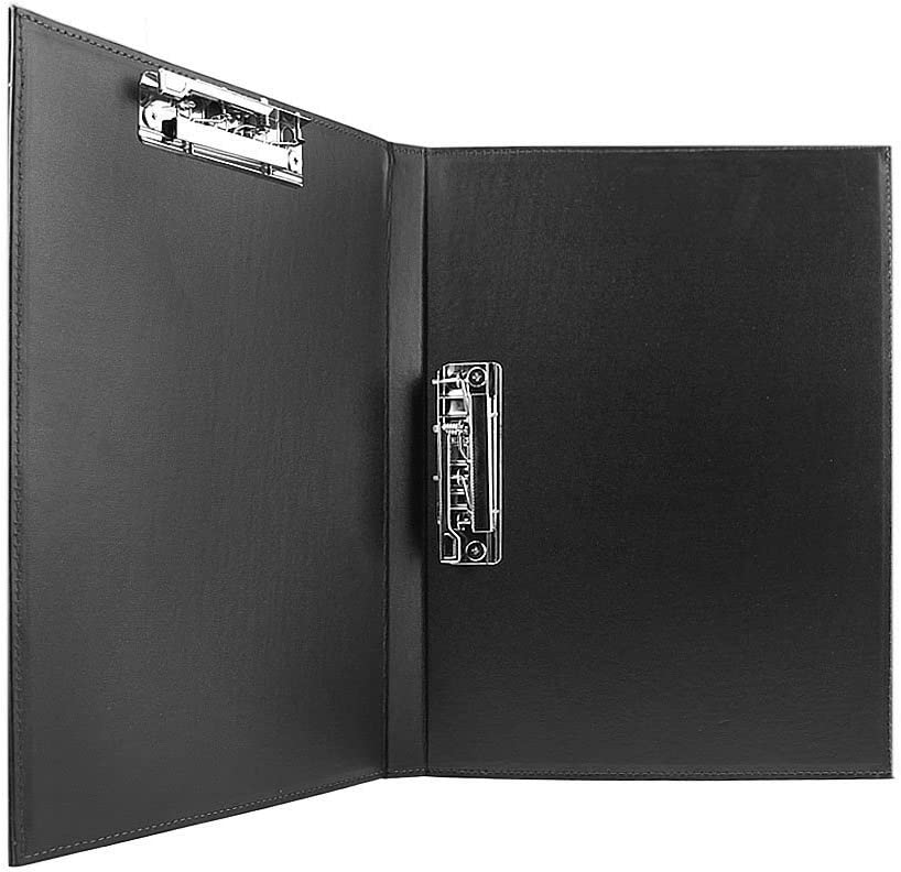 Clobeau Upscale Leather A4 Lever Arch File Cover Clipboard Paper Documents Storage Folders Binder Clip Portfolio Writing Board Pad Tablet Project File Folder with Double Paper Clips Office Stationary