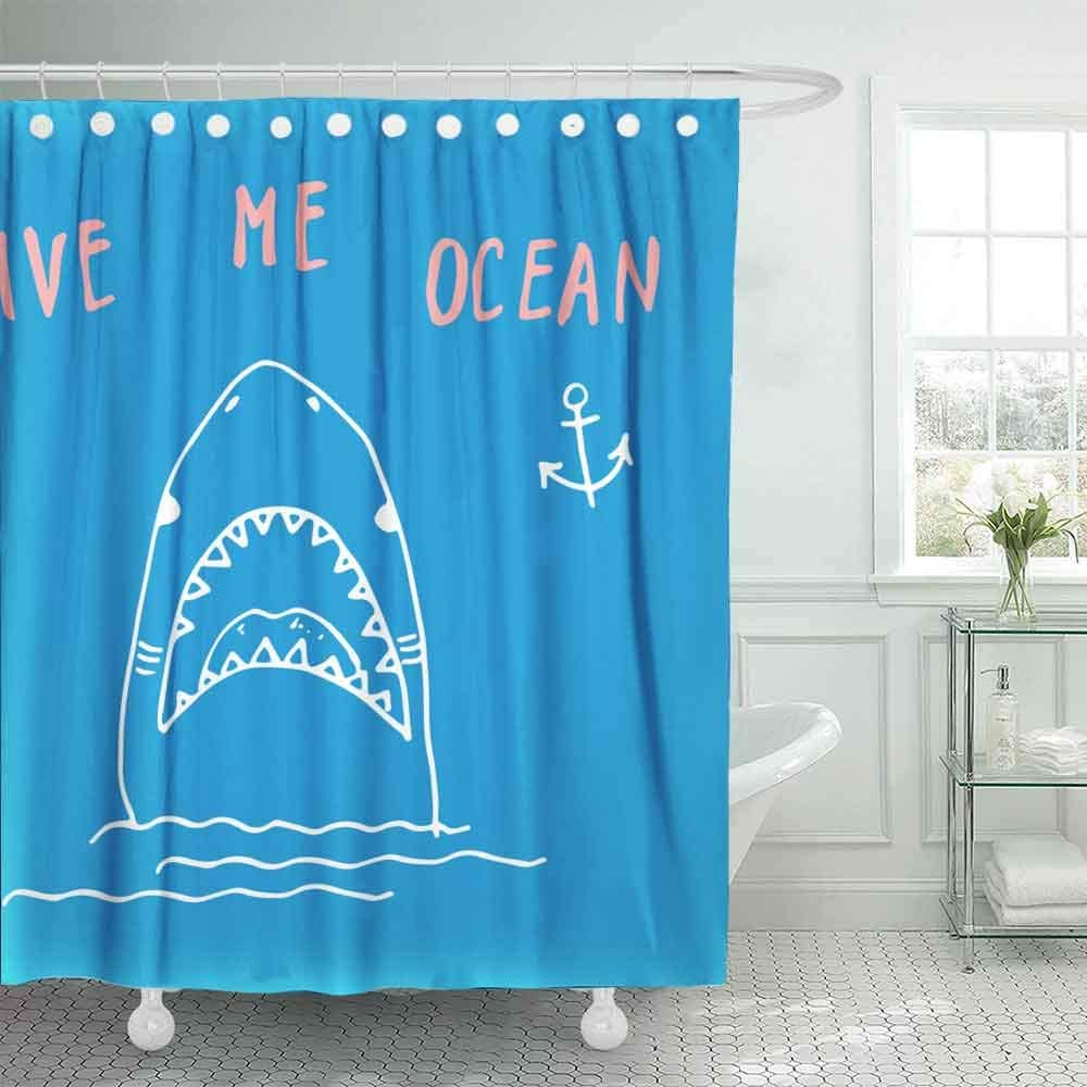 Dethel Farmhouse Shower Curtain 66x72 Baby Shower Curtain Bath Shower Curtain Black White Cartoon Shark Fish Sea Life Animal Coloring Book Camping Shower Curtain Cute Shower Curtain Kids Bath Kids Home Store