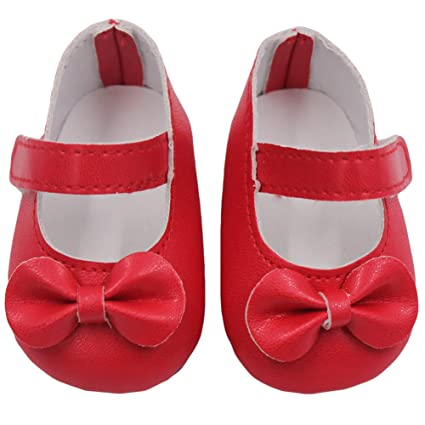 18 Inch Toy Accessories Magic Sticker PU Gift Bow Collection American Doll Shoes
