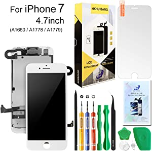 Screen Replacement for iPhone 7 White,Hkhuibang 4.7'' Upgraded LCD Display 3D Touch Screen Digitizer Full Frame Assembly with OEM Front Camera Proximity Sensor Earpiece Speaker + Repair Tools Kit