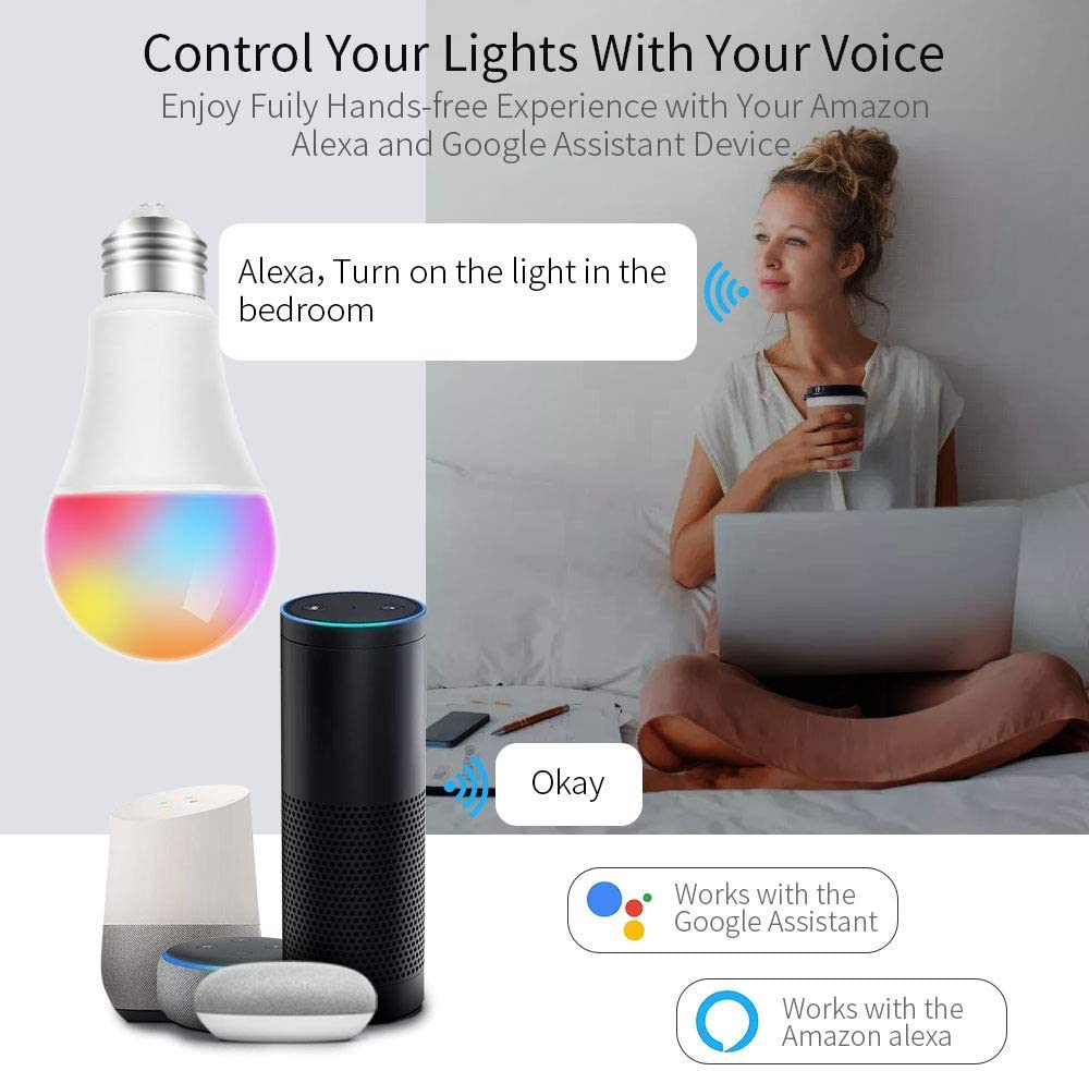 Clase de energ/ía A no requiere concentrador DAIFA Bombilla inteligente WiFi Bayoneta 60W Equivalente Google Home e IFTTT regulable RGBCW Bombilla multicolor Funciona con Alexa