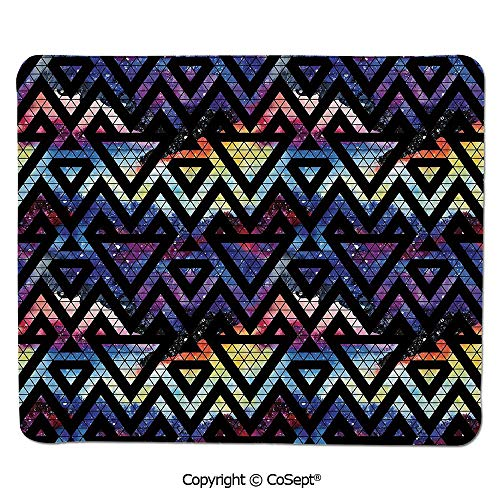 Non-Slip Rubber Base Mousepad,Galaxy Themed Background with Geometrical Shapes Triangles and Lines Lace Pattern Decorative,Non-Slip Water-Resistant Rubber Base Cloth Computer Mouse Mat (15.74
