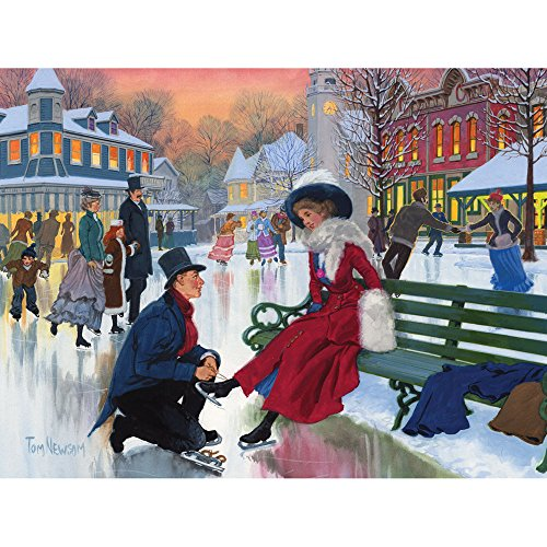 Bits and Pieces - 300 Piece Jigsaw Puzzle for Adults - Skaters in Love - 300 pc Christmas Winter Holiday Jigsaw by Artist Tom Newsom
