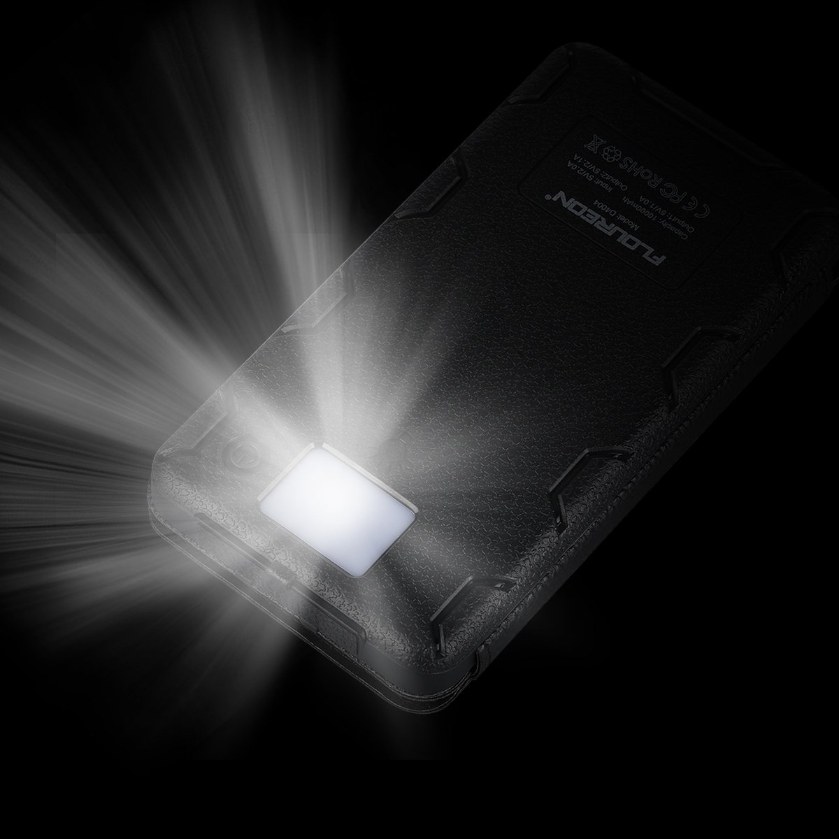 FLOUREON Solar Charger Power Bank 10,000mAh With 1+3PCS Solar Panels Portable Mobile Phone Solar Charger Power Bank Dual USB 1.0A/2.1A Max IP67 Waterproof LED SOS Flashlight