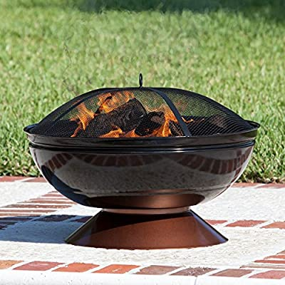 Fire Sense Degano 26 in. Round Fire Pit - Overall dimensions: 26 diam. X 21H in. Comes with fire pit, wood grate, cooking grate, and screen lift grabbing tool Unique enamel-painted fire bowl and base - patio, fire-pits-outdoor-fireplaces, outdoor-decor - 61vC%2BS4 OiL. SS400  -