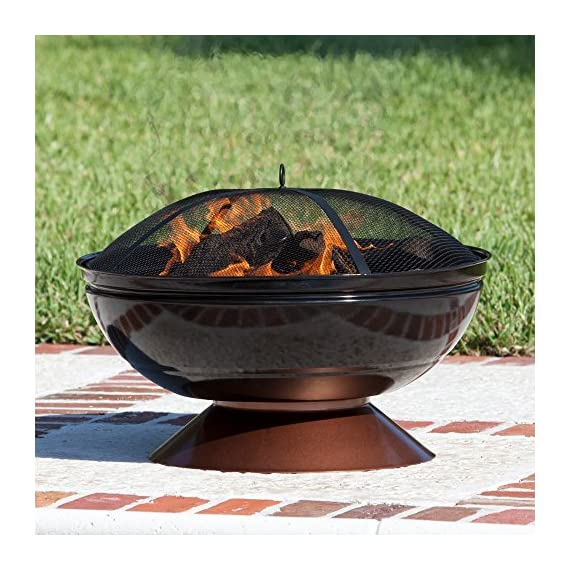 Fire Sense Degano 26 in. Round Fire Pit - Overall dimensions: 26 diam. X 21H in. Comes with fire pit, wood grate, cooking grate, and screen lift grabbing tool Unique enamel-painted fire bowl and base - patio, outdoor-decor, fire-pits-outdoor-fireplaces - 61vC%2BS4 OiL. SS570  -