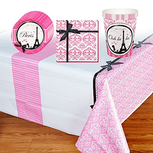 Paris Damask Party Supplies Pack Including Plates, Cups, Napkins and Tablecover - 8 Guests