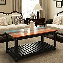 "Coffee Table Wood, LITTLE TREE 48"" Colorful Real Solid Wood Living Room Center Table with Open Shelf Storage, 4-Color Finish"
