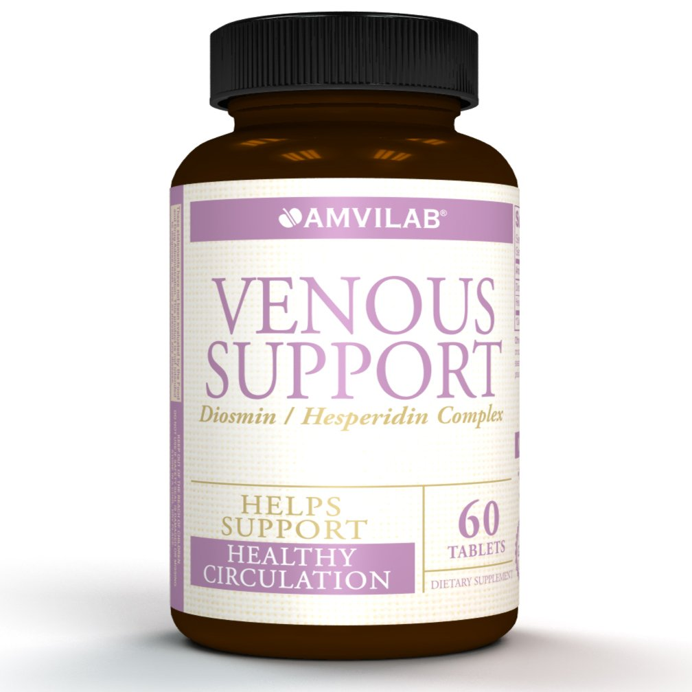 VENOUS SUPPORT- Potent Diosmin 450mg Hesperidine 50mg Complex. Supports Vascular Wall Integrity and Tone. Helps with Hemorrhoids Relief, Varicose and Spider Veins Appearance. 60 count One Month Supply