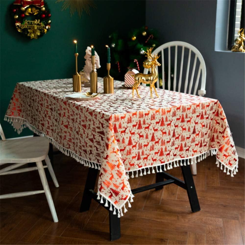 SONGHJ Borla de Lino de algodón Mantel Navidad Estampado en Caliente Cubierta de Mesa Fiesta de cumpleaños Festival Decoración Mesa de Comedor Mantel Individual de Doble Cara A 140x300cm / 55x118in: Amazon.es: