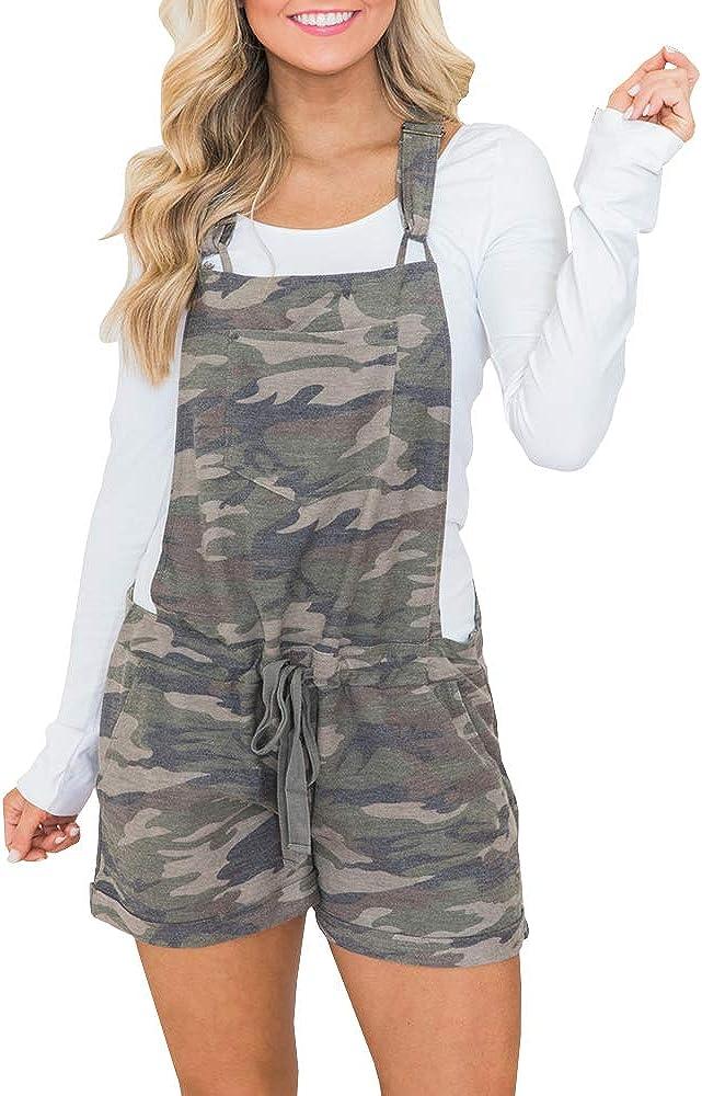Womens Bib Overall Shorts Summer Casual Camo Elastic Waist Comfy Fit Playsuit