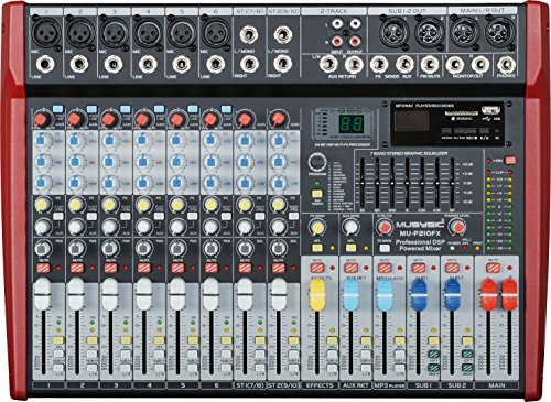 MUSYSIC Professional 10 Channel 4800W Power Mixer 24-bit FX Processor MU-P210fx by MUSYSIC