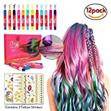 HONGCI Hair Chalks for Girls - 12pcs Temporary Hair Colour Pens, Glitter Hair Chalk Pens for All Hair Colours, Washes Out Easily With No Mess + 3 Sheets Metallic Temporary Tattoo - Dress Up, Performance, Halloween, Cosplay, Party, Birthday Gifts for Girls