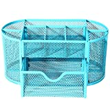Mesh Desk Organizer Desktop Pencil Holder Accessories Office Supplies Caddy with Drawer, 9 Compartments (Blue)