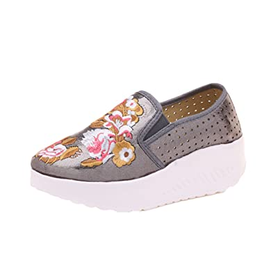 AvaCostume Womens Floral Embroidery Breathable Holes Platform Sneaker Shoes