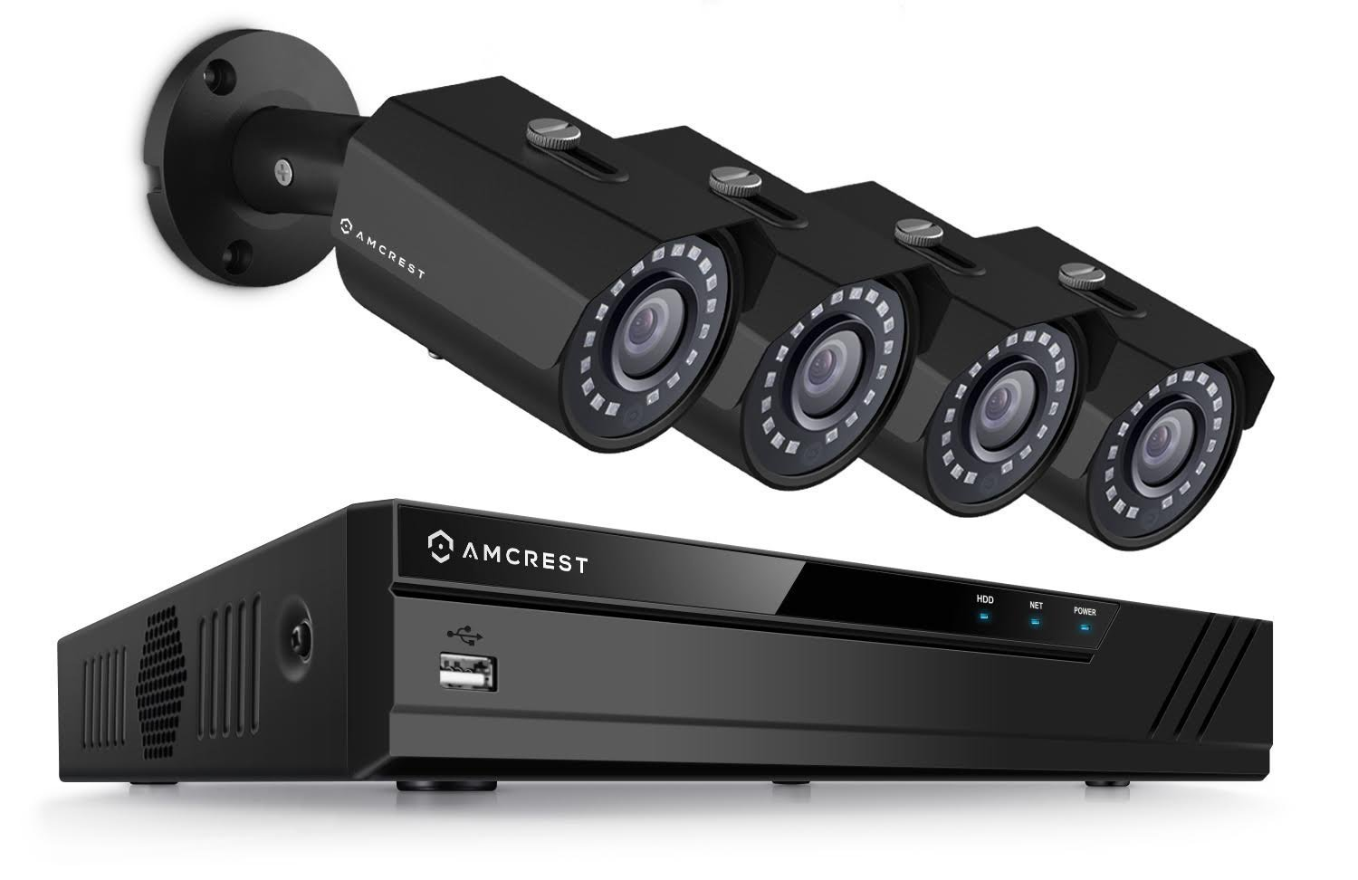 Amcrest Full-HD Video Security System -Weatherproof IP67 Bullet Cameras, 65ft IR LED Night Vision, HDD,Smartphone View (2MP NVR Kits, 2MP 8CH NVR + 4 Bullets)