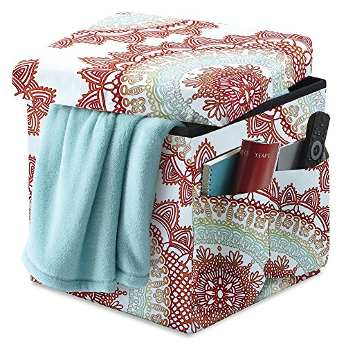 Beautifully Stylish & Conveniently Handy Folding Storage Ottoman w/ 2 Outside Pockets in Bungalow