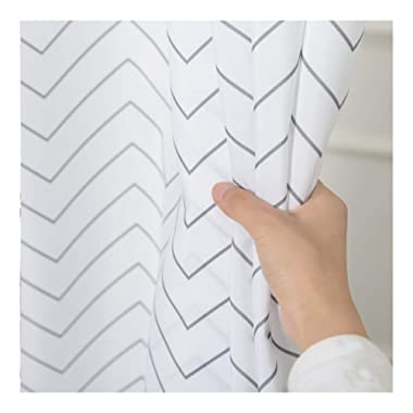Aimjerry White Striped Washable Fabric Shower Curtain for Bathroom,Waterproof 71-inch x 72-inch