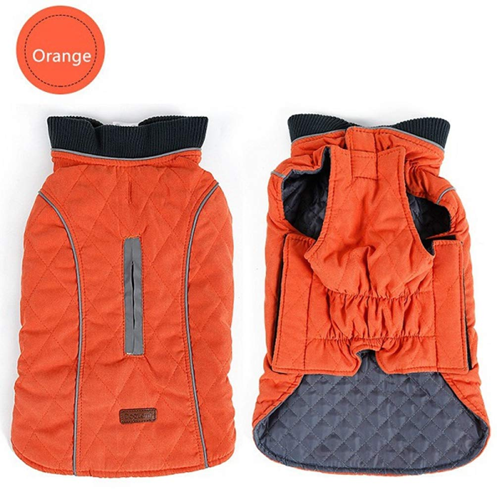 orange XL orange XL Jim Hugh Pet Dog Clothes Winter Warm Reflective Large Dog Coat Jacket Adjustable Retro Design Cozy Pet Vest