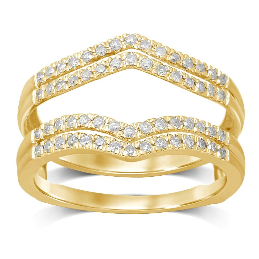 Gems and Jewels 14k Yellow Gold Plated 1/3ct Cubic Zirconia Anniversary Wedding Band Ring Enhancer Guard by Gems and Jewels
