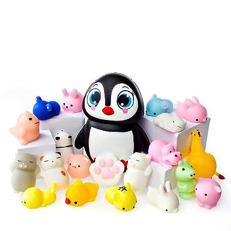 Juguetes Mochi Squishys - Pack De 20 Squishys Y 1 Squishi Pingüino Jumbo De Hinchado Lento - Gato Mochi Squishy ...