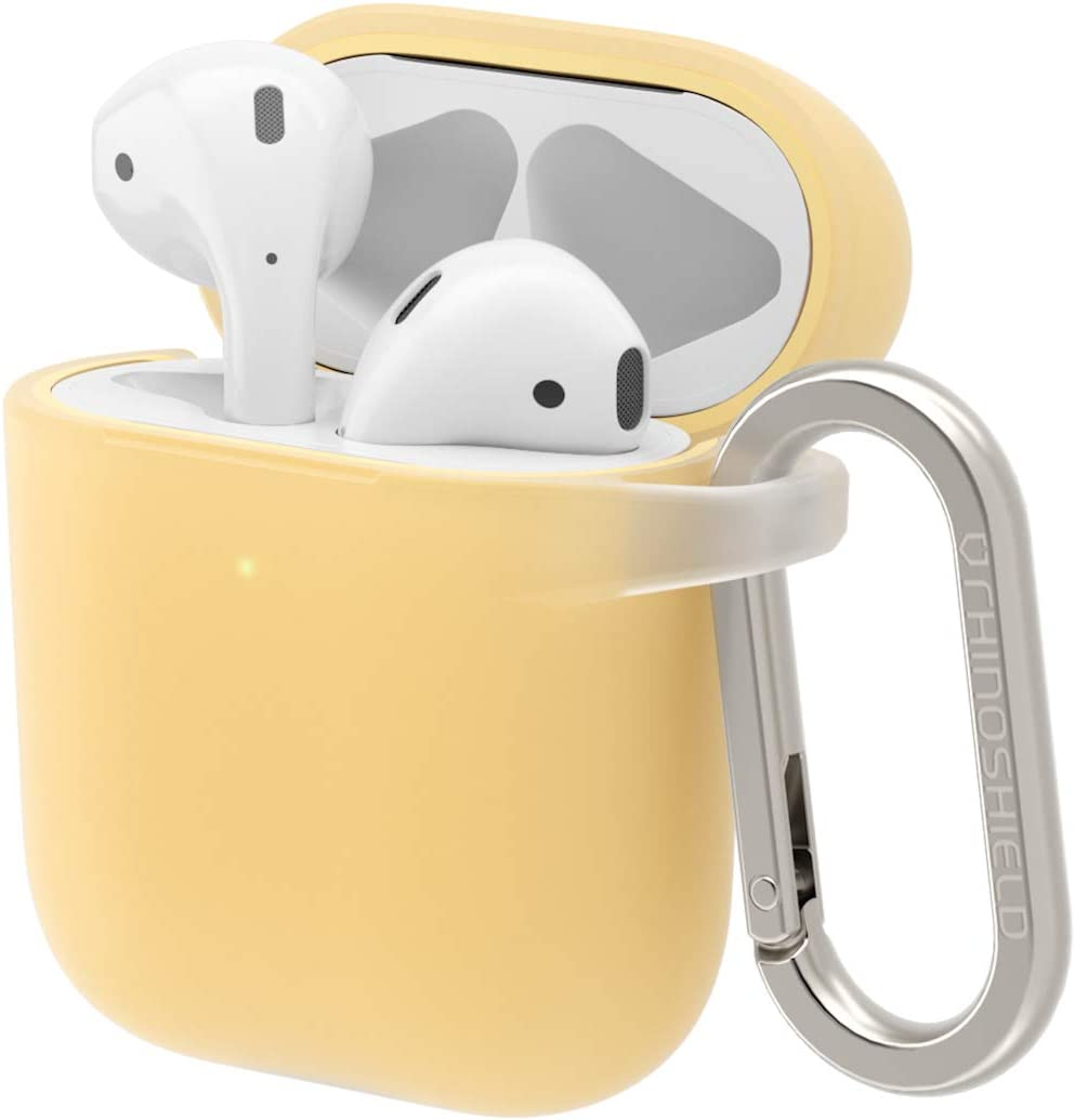 RhinoShield Case with Carabiner Compatible with Apple [AirPods Series 2 / 1] | Military Grade Drop Protection, Scratch Resistant, Wireless Charging - [Canary Yellow, Standard Set]