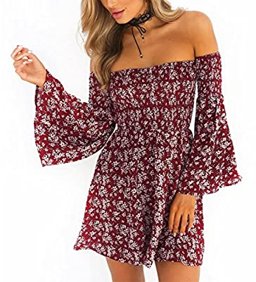 Women's Off Shoulder Summer Beach Floral Party Long Sleeve Party Mini Dress