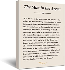 Inspirational Theodore Roosevelt Quote The Man in The Arena Sign Poster Canvas Wall Art Painting Ready to Hang for Home/Bedroom/Living Room Decor - Theodore Roosevelt Speech Quote Wall Decor Canvas Gifts - Easel & Hanging Hook 11.5x15 Inch