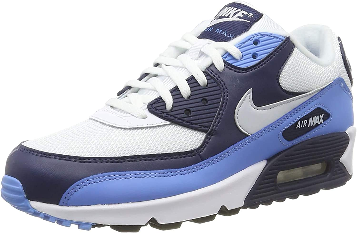 Nike Air Max 90 Essential, Baskets Basses Homme Blanc White Pure Platinum Univ Blue Midnight Navy 105