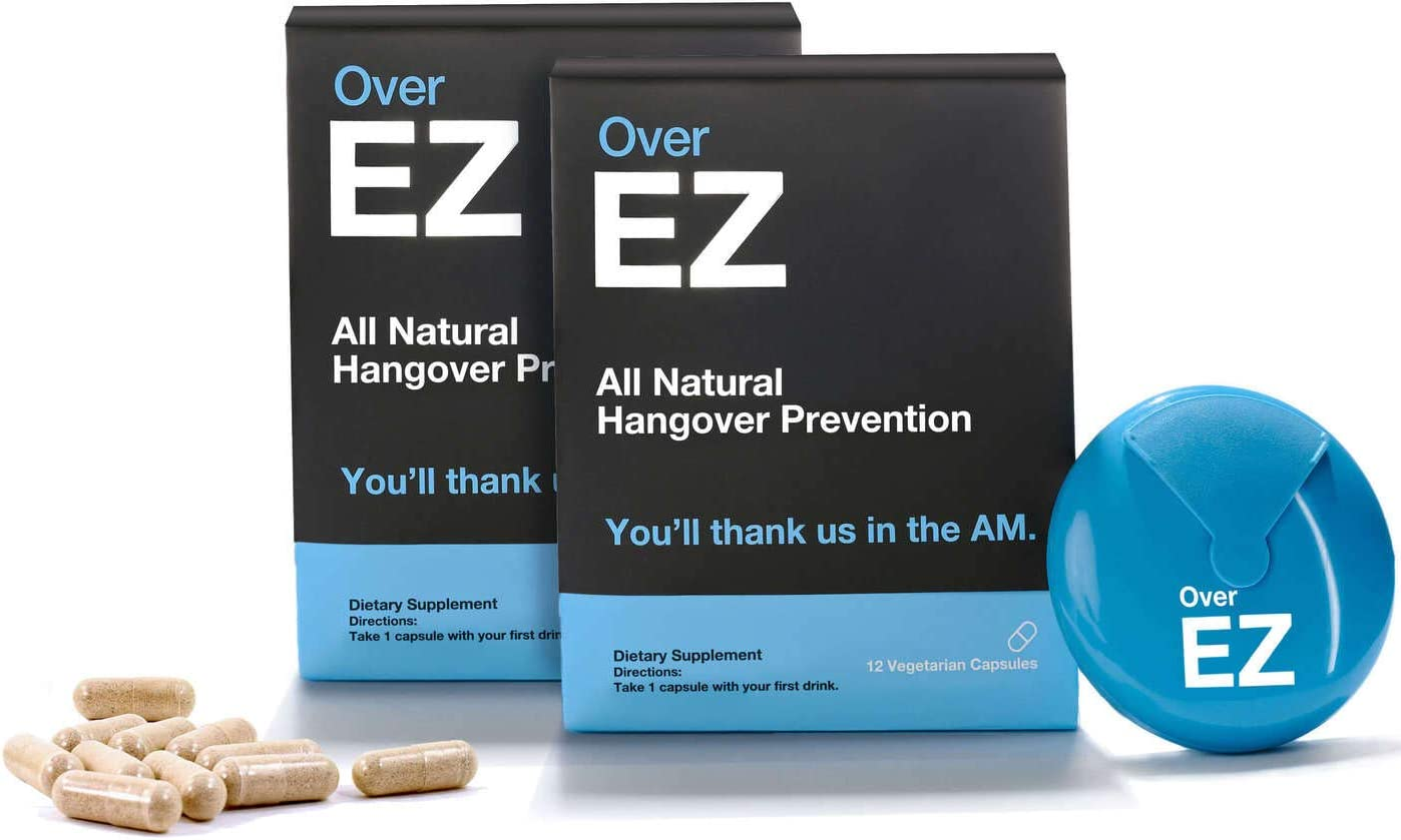Over EZ Hangover Cure and Hangover Prevention with Milk Thistle, Anti Hangover Pill, Liver Detox with Amino Acids, Vitamin B6 and B12, Hangover Pill with 1000 milligrams 24