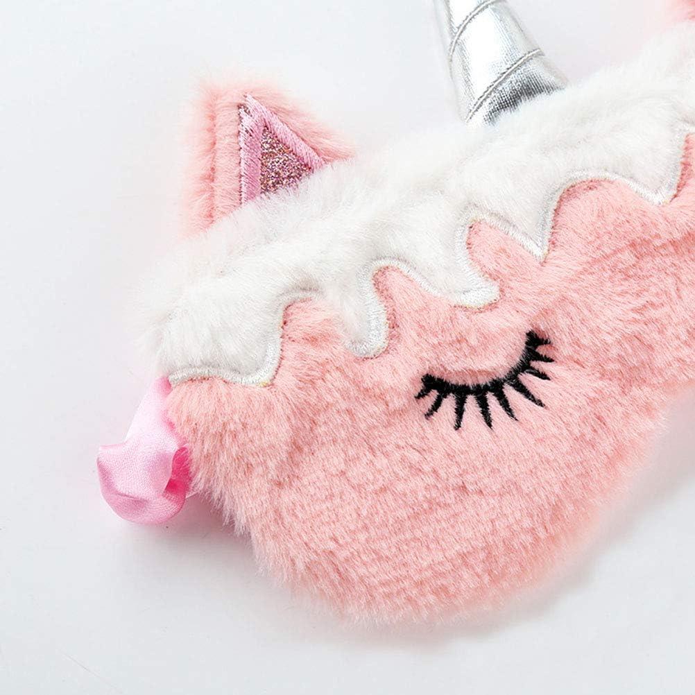 Pour fille /À mettre sur les yeux les siestes et les voyages Joli masque de sommeil en peluche Avec oreilles de licorne Pour la nuit