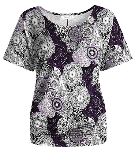- Esenchel Women's Short Sleeve Dolman Top Scoop Neck Drape Shirt L Purple Paisley