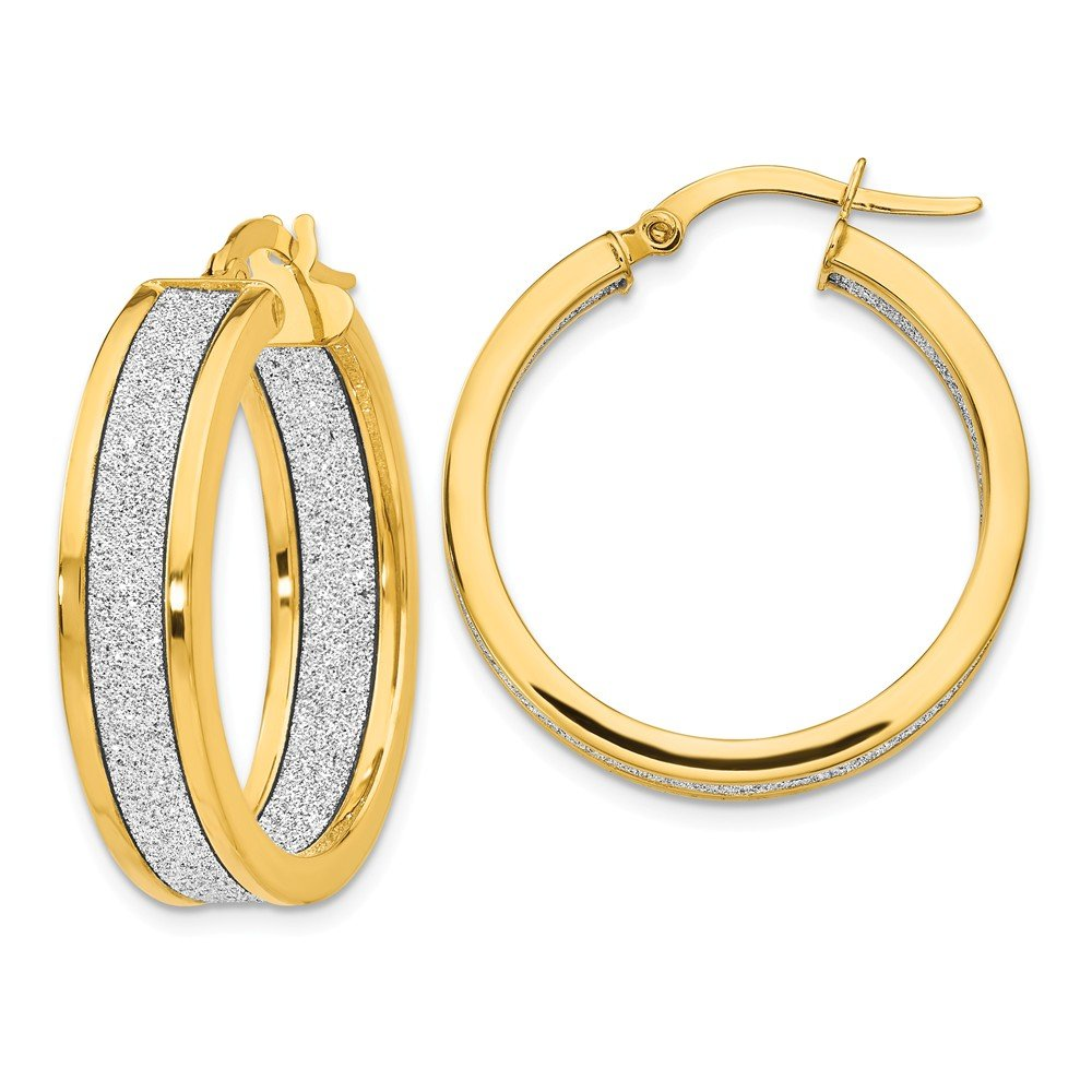 Leslies Real 14kt White Gold Polished /& Textured Hinged Hoop Earrings