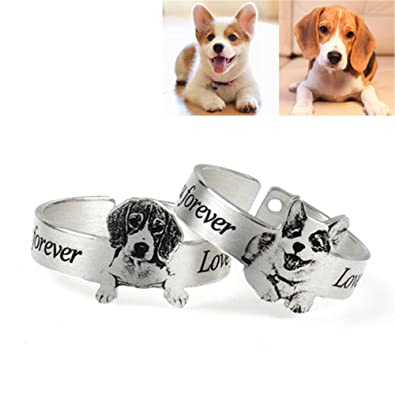 d9ceb075fdd7a Amazon.com: Shiny Alice Custom Personalized Photo Engraved Ring Dog ...