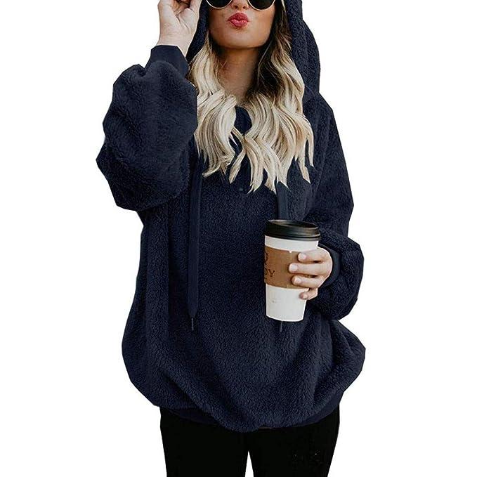 Yvelands Chaqueta Suéter Abrigo Jersey Mujer Invierno Talla Grande Hoodie Sudadera con Capucha Mujer Caliente y